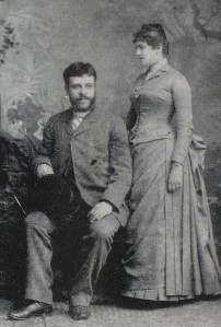 Alberto con la moglie Margherita Levi a Reggio Emilia nel 1888