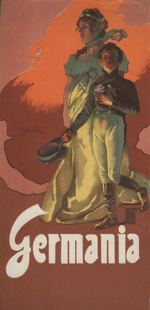 Cartoline di Germania illustrate da Leopoldo Metlicovitz, pubblicate da Ricordi per la prima esecuzione dell'opera