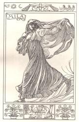 La figlia di Iorio, personaggio di Mila (incisione interna allo spartito)