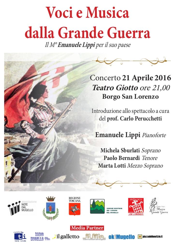 Borgo San Lorenzo - volantino voci e musica dalla grande guerra 21 apr 2016